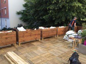 les jardiniers à vélo paris ile de france aménagement entretien terrasse jardin bac bois hauteur grand long
