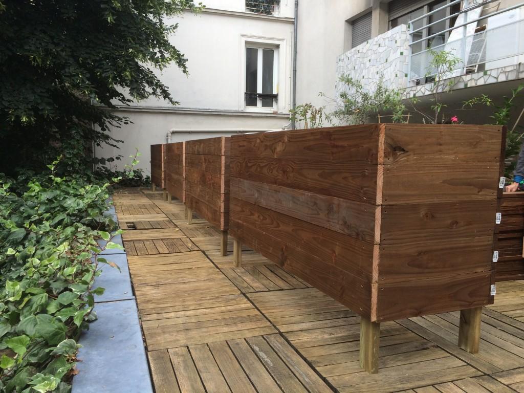 les jardiniers à vélo paris ile de france aménagement entretien terrasse jardin bac bois meleze