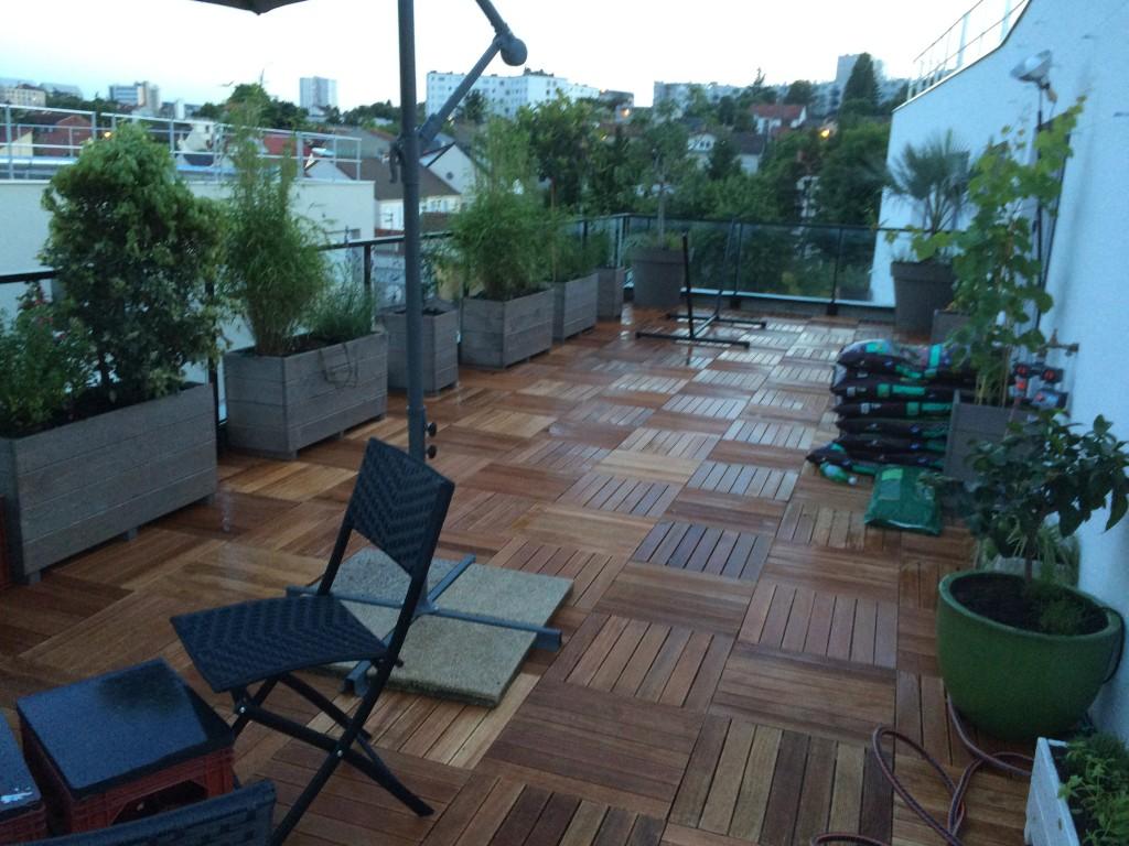 les jardiniers à vélo paris ile de france aménagement entretien terrasse jardin villejuif caillebotis bac plantation